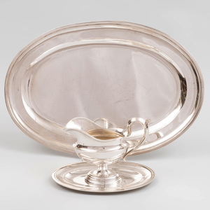 Hungarian Silver Sauce Boat on Stand and a Meat Platter