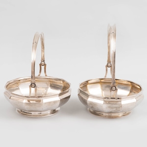 Pair of German Silver Baskets with Swing Bale Handles