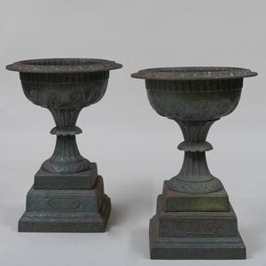 Pair of Kramer Bros. Painted Cast Iron Garden Urns, Dayton, Ohio