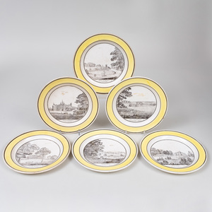 Set of Six Yellow Ground Transfer Printed Creil Topographical Plates