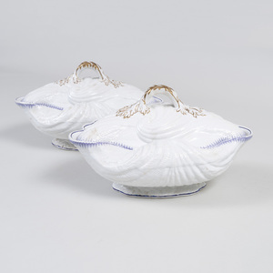 Pair of English Ironstone Shell Form Tureens and Covers