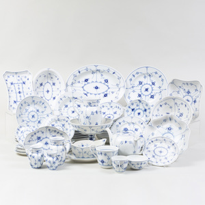 Royal Copenhagen Porcelain Part Service, in the 'Blue Lace' Pattern