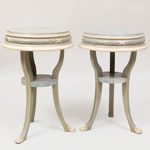 Pair of Continental Blue and Faux Marble Painted Side Tables