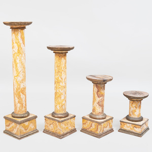 Group of Faux Marble Painted Pedestals