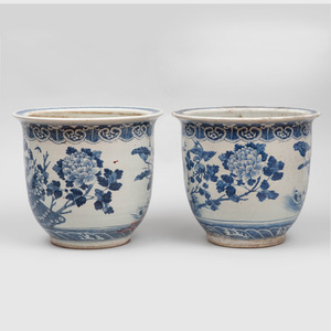 Pair of Chinese Blue and White Porcelain Jardinières