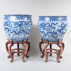 Pair of Chinese Blue and White Porcelain Fish Bowls