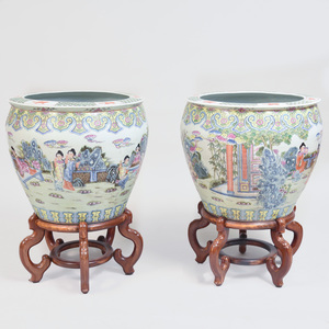 Pair of Chinese Famille Rose Porcelain Fishbowls