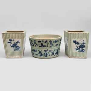 Three Chinese Celadon Glazed Porcelain Faux Bamboo Planters