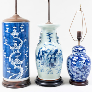 Three Chinese Glazed Porcelain Vessels, Mounted as Lamps
