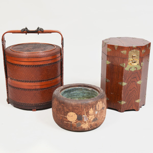 Japanese Wood and Lacquer Hibachi, a Gilt-Metal-Mounted Wood Box, and a Wedding Basket