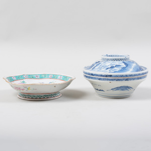 Chinese Famille Rose Porcelain Shaped Dish and a Blue and White Bowl and Cover