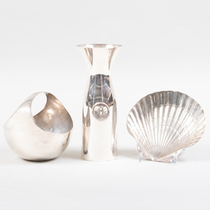 Tiffany Silver Shell Form Dish, a Continental Silver Basket and an Italian Silver Carafe