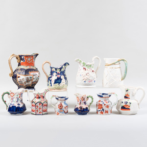 Group of Seven English Ironstone Pitchers and Three Ceramic Pitchers