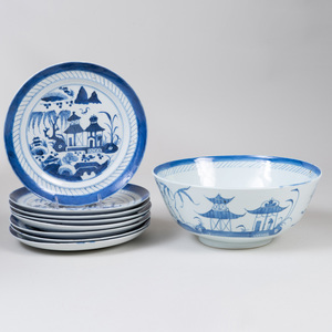 Set of Eight Canton Blue and White Porcelain Plates and a Punch Bowl