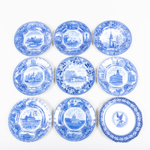 Set of Six Staffordshire Blue and White Transfer Printed Plates and Three Plates
