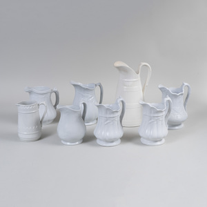 Group of Six English Ironstone Jugs and Two White Glazed Jugs