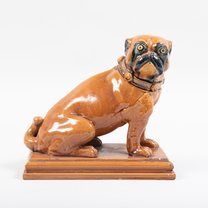 Staffordshire Glazed Pottery Pug Form Vessel and Cover