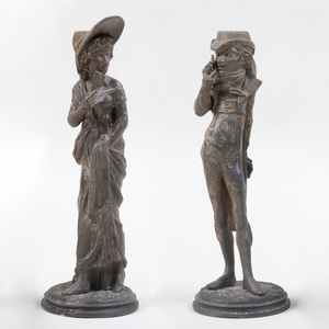 Pair of Continental Cast-Metal Figural Candlesticks