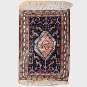 Small Kazak Silk and Cotton Rug