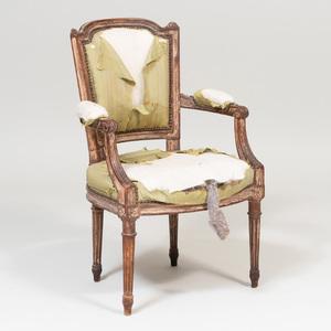 Miniature Louis XVI Painted Fauteuil en Cabriolet