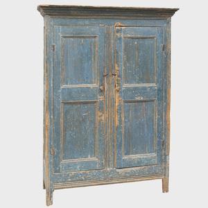 Blue Painted Paneled Two Door Cupboard