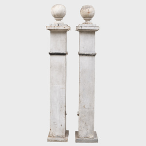 Pair of White Painted Gate Posts with Ball Finials