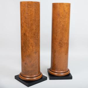 Pair of Faux Painted Columnar Pedestals