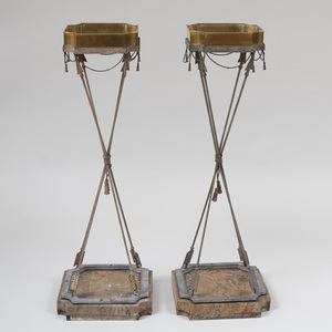 Pair of Directoire Style Brass, Metal and Faux Marble Plant Stands