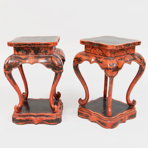 Pair of Chinese Laquered Small Tables