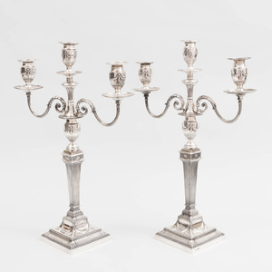 Pair of Edward VII Silver Three-Light Convertible Candelabra