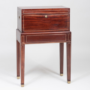 English Brass-Mounted Mahogany Humidor Chest on Stand, Benson and Hedges, London