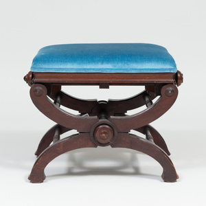 Late Victorian Carved Mahogany Adjustable Piano Bench, L. Postawka & Co., Cambridgeport, MA