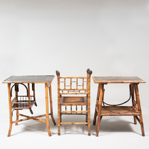 Two Faux Bamboo and Lacquer Tables and a Faux Bamboo Corner Chair