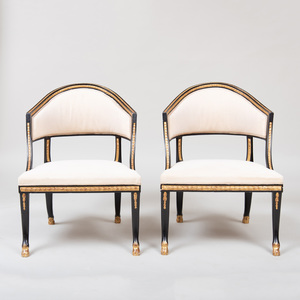 Pair of Swedish Neoclassical Style Ebonized and Parcel-Gilt Armchairs
