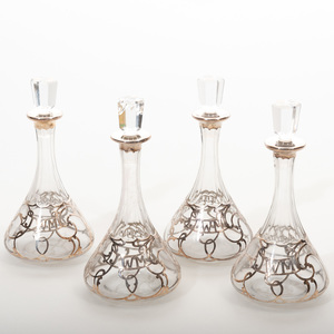 Set of Four Alvin Corporation Silver Overlay Glass Decanters and Stoppers