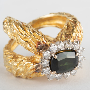 18K Gold, Green Tourmaline and Diamond Ring