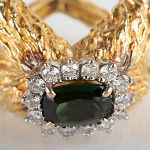 18K Gold, Green Tourmaline and Diamond Ring