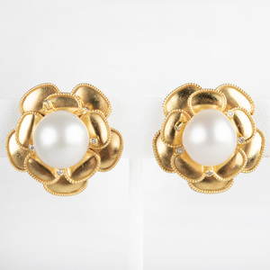 Pair of 18K Gold, South Sea Pearl and Diamond Ear Clips