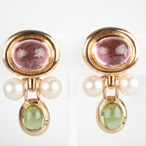 Pair of 14K Yellow Gold, Pink and Green Tourmaline and Pearl Ear Clips
