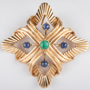 14K Gold, Emerald and Sapphire Pendant/Brooch