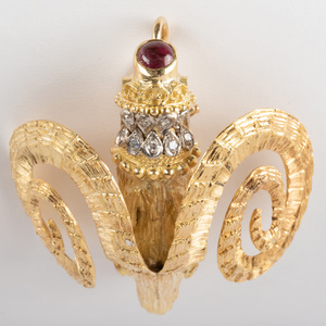 Ilias Lalaounis 18K Yellow Gold, Diamond and Ruby Ram Head Brooch