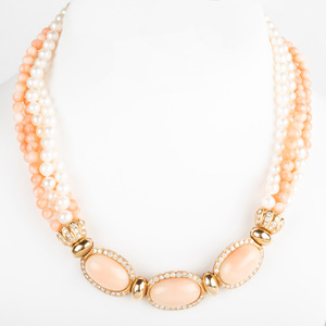 14K Yellow Gold, Pearl and Coral Bead and Diamond Necklace