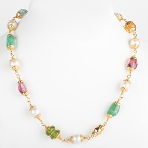 Seaman Schepps 18k Gold, Cultured Pearl and Precious Stone Bead Necklace