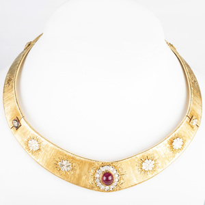 Italian 18k Two Tone Gold, Diamond, and Ruby Choker
