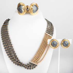 18K Gold and Hematite Bead Jewelry Suite