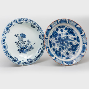 Two Dutch Delft Blue and White and Polychrome Plates