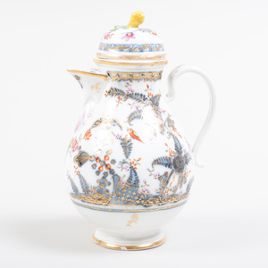 Continental Porcelain Coffee Pot and Cover, Possibly Meissen