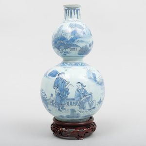 Dutch Delft Blue and White Double Gourd Vase