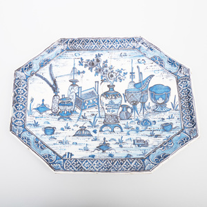 Dutch Delft Blue and White Octagonal Footed Tray