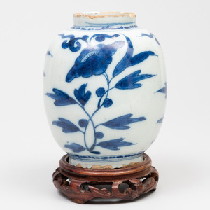 Dutch Delft Blue and White Small Ovoid Vase